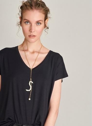 NGSTYLE V Yaka Basic Tişört Siyah